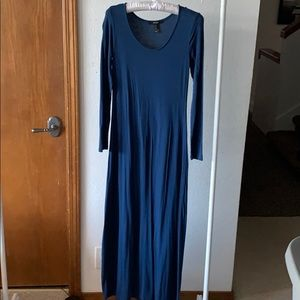 Long Sleeve Blue Maxi Dress